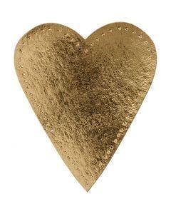 Hjerte, H: 12 cm, B: 10 cm, 350 g, gull, 4 stk./ 1 pk.