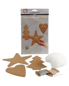 Juleoppheng av lærpapir, tykkelse 0,55 mm, natur, 1 sett