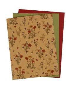 Lærpapir, 21x27,5+21x28,5+21x29,5 cm, tykkelse 0,55 mm, ensfarget,print, natur, grønn, rød, 3 ark/ 1 pk.