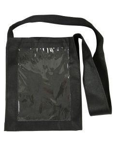 Veske med plastfront, str. 40x34x8 cm, svart, 1 stk.