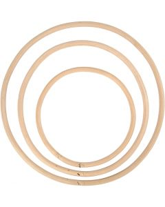 Bambusring, dia. 15,3+20,3+25,5 cm, 3 stk./ 1 sett