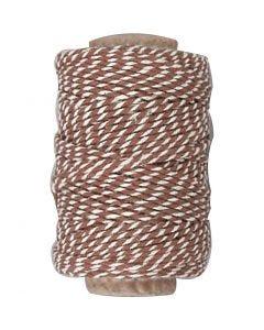 Bomullssnor, tykkelse 1,1 mm, brun/hvit, 50 m/ 1 rl.