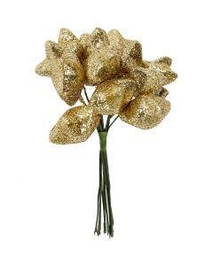 Stjerne, dia. 25 mm, gull, 12 stk./ 1 pk.