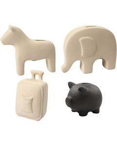 Sparedyr, H: 10-16 cm, svart, hvit, 4x8 stk./ 1 kasse