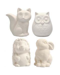 Sparedyr, ugle, rev, pinnsvin, hare, H: 9-10 cm, hvit, 4 stk./ 1 kasse