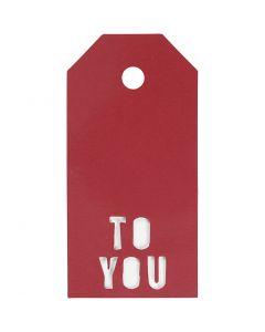 Manillamerker, TO YOU, str. 5x10 cm, 300 g, rød, 15 stk./ 1 pk.