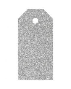 Manillamerker, str. 5x10 cm, glitter, 300 g, sølv, 15 stk./ 1 pk.