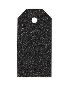 Manillamerker, str. 5x10 cm, glitter, 300 g, svart, 15 stk./ 1 pk.