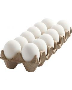 Egg, H: 6 cm, hvit, 12 stk./ 1 pk.