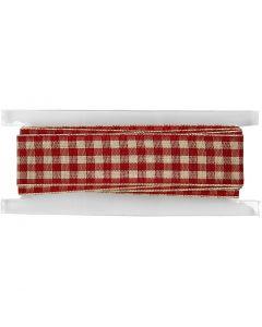 Rutete bånd, B: 20 mm, gml. rød/hvit, 2 m/ 1 rl.