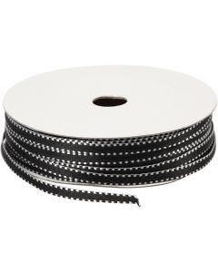 Dekorasjonsbånd, B: 4 mm, svart/hvit, 20 m/ 1 pk.