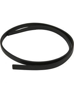 Imitert lærbånd, B: 10 mm, tykkelse 3 mm, svart, 1 m/ 1 pk.
