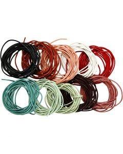 Lærsnor, tykkelse 2 mm, ass. farger, 10x3 m/ 1 pk.