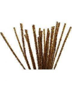 Piperensere, L: 30 cm, tykkelse 6 mm, glitter, gull, 24 stk./ 1 pk.