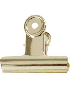 Metallklips, B: 7,5 cm, messing, 6 stk./ 1 pk.
