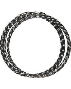 Bonzaitråd, diamond-cut, tykkelse 2 mm, svart, 7 m/ 1 rl.