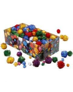 Pomponer, dia. 15-40 mm, glitter, sterke farger, 400 g/ 1 pk.
