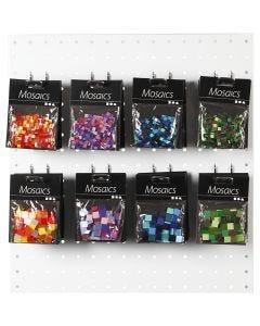 Minimosaikk, str. 5x5+10x10 mm, blå/grønn harmoni, grønn glitter, lilla/mørk lilla, rød/orange harmoni, 80 pk./ 1 pk.
