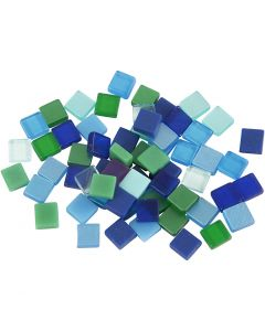 Minimosaikk, str. 5x5 mm, blå/grønn harmoni, 25 g/ 1 pk.