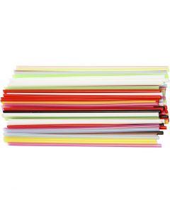 Konstruksjonsrør, L: 12,5 cm, dia. 3 mm, ass. farger, 3200 stk./ 1 pk.