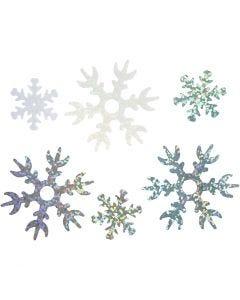 Paljetter, dia. 25+45 mm, lys blå, sølv, hvit, 250 g/ 1 pk.