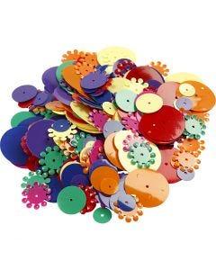 Paljetter, runde, str. 10-25 mm, ass. farger, 35 g/ 1 pk.