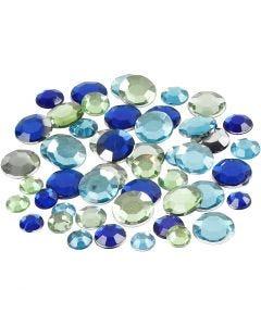 Rhinsten, runde, str. 6+9+12 mm, blå/grønn harmoni, 360 stk./ 1 pk.