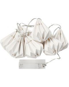 LED lyskjede med lampeskjerm, H: 80 mm, L: 100 cm, dia. 65 mm, hvit, 1 stk.