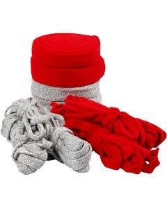 Tubestrikk, B: 10-40 mm, Innhold kan variere , grå, rød, 50 m/ 1 pk.