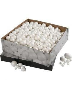 Kuler og egg, str. 1,5-6,1 cm, hvit, 550 stk./ 1 pk.