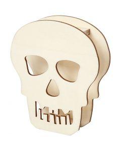 Halloweenfigur Hodeskalle, Hodeskalle, H: 13,5 cm, dybde 3 cm, B: 11,5 cm, 1 stk.