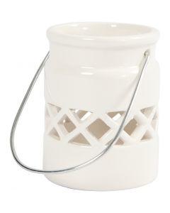 Lanterne, H: 8 cm, dia. 6,2 cm, hvit, 2 stk./ 1 pk.