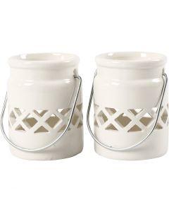 Lanterne, H: 8 cm, dia. 6,2 cm, 2. sort, hvit, 6 stk./ 1 kasse