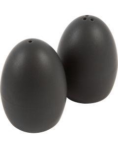 Salt- og peppersett, H: 7 cm, matt, svart, 6 sett/ 1 kasse