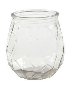 Lysglass, H: 10,5 cm, dia. 9,5 cm, hullstr. 7,3 cm, 6 stk./ 1 kasse