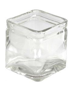 Firkantet lysglass, H: 8 cm, str. 7,5x7,5 cm, 12 stk./ 1 kasse