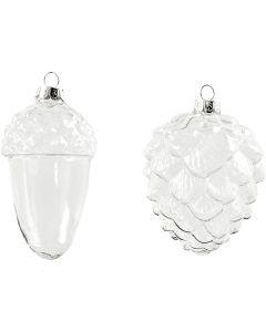 Glasskuler, H: 9,5+10,5 cm, dia. 5,5+7,5 cm, transparent, 4 stk./ 1 pk.