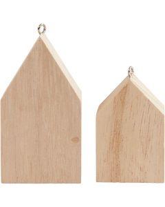 Hus med oppheng, H: 4,5+6,5 cm, 30 stk./ 1 pk.