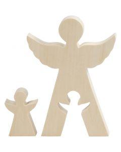 2i1 figur, engler, H: 7,8+20 cm, dybde 2 cm, B: 4,5+14,3 cm, 1 sett