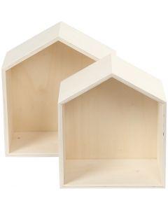 Oppbevaringskasser, hus, H: 22,5+25 cm, dybde 12,5 cm, B: 19,5+22,5 cm, 2 stk./ 1 sett