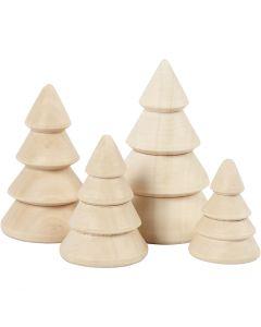 Juletrær, H: 3,3+4,3+5,3+6,3 cm, dia. 2,3+3+3,2+4 cm, 4 stk./ 1 pk.