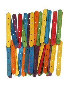 Konstruksjonspinne, L: 15 cm, B: 1,8 cm, hullstr. 4 mm, ass. farger, 500 ass./ 1 pk.