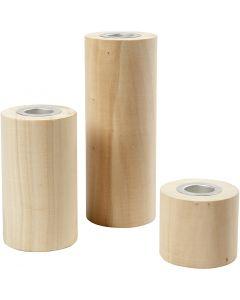 Lysestaker, H: 14,5+9+6,5 cm, hullstr. 2,3 cm, 3 stk./ 1 pk.