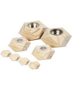 Lysestaker, H: 3,4+5 cm, dia. 6,2+9 cm, hullstr. 2,2+4,2 cm, 1 sett