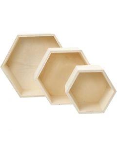 Oppbevaringskasser, H: 14,8+19+24,2 cm, dybde 10 cm, 3 stk./ 1 sett
