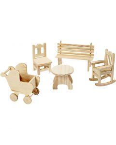 Minimøbler, stol, benk, gyngestol, bord, barnevogn, H: 5,8-10,5 cm, 50 stk./ 1 pk.