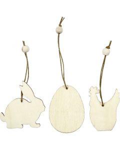 Treoppheng, hare, egg, høne, str. 6 cm, tykkelse 3 mm, 9 stk./ 1 pk.