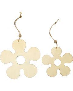 Treoppheng, blomst, dia. 12,3+16,5 cm, tykkelse 5 mm, 2 stk./ 1 pk.