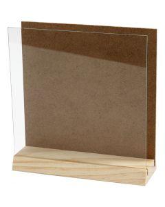 3D plate med glass, str. 15x15 cm, 1 sett