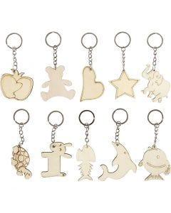 Nøkkelringer, str. 5,5x5,5 cm, tykkelse 2 mm, 30 stk./ 1 pk.